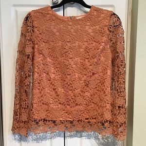 Adiva  Coral Lace Overlay Top Size Small